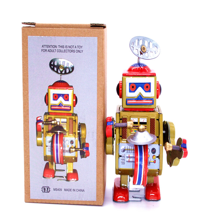 Retro Clockwork Tin Toys Classic Clockwork Tin Robot Gong Rare Collectibles