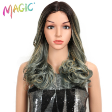 купить MAGIC Hair Synthetic Lace Front Wigs For Black Woman Ombre Natural Wave 20Inch Bob Wigs Heat Resistant I Part Wig For Women дешево