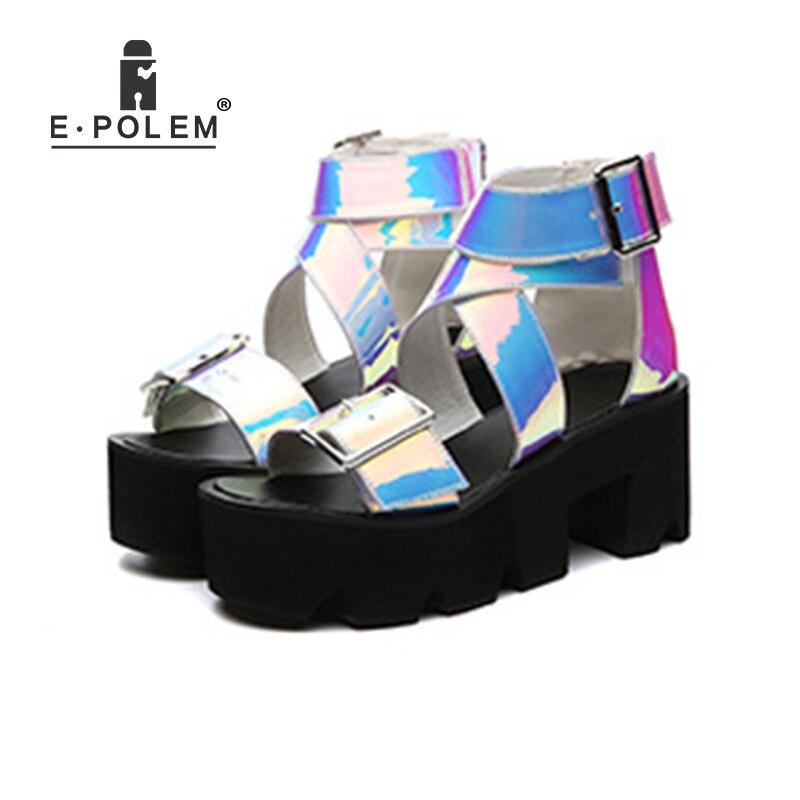 Мода Радуга Лазерного кожаные сандалии для Для женщин голографическая прозрачная Красочные Светоотражающие Аврора синего цвета на платфо...
