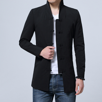 Warna murni pria Lengan Panjang Jaket Gaya Cina Laki-laki Atas Jaket Mantel Pria Ukuran S-3XL Hitam Biru Tua