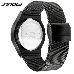 Image 5 - 2020 SINOBI メンズ腕時計トップブランドの高級スポーツ男性腕時計ファッションクォーツステンレススチールメッシュストラップレロジオ Masculino