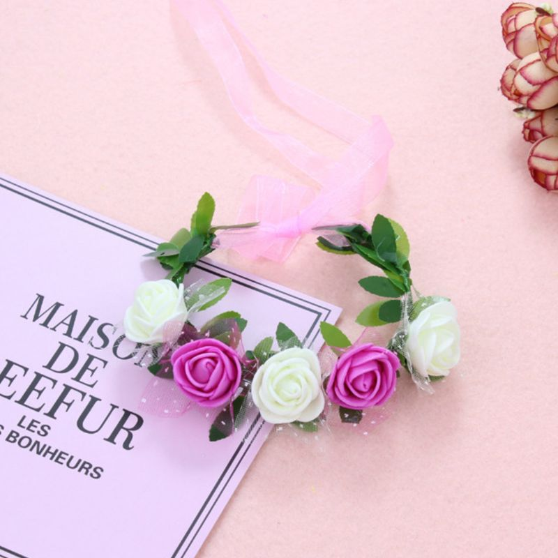 Women Girls Wrist Corsage Wristband Contrast Candy Color 5 Foam Flower Bridal Bridesmaid Wedding Wave Point Mesh Ribbon Bracelet
