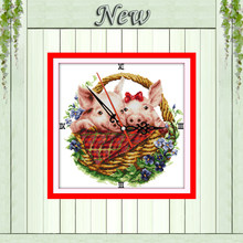 Pig in flower basket decor painting counted printed on canvas DMC 14CT 11CT Chinese Cross Stitch Needlework Sets Embroidery kits(China)