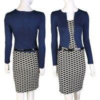 Autumn Spring Women Faux Two Piece Plaid Long Sleeve Pencil Dresses 2016 Hot Sale Dress Suits