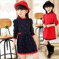 2 colores nuevo vestido de la muchacha niños otoño invierno vestidos para niñas ropa de manga larga arco princesa vestidos de los niños causales ropa