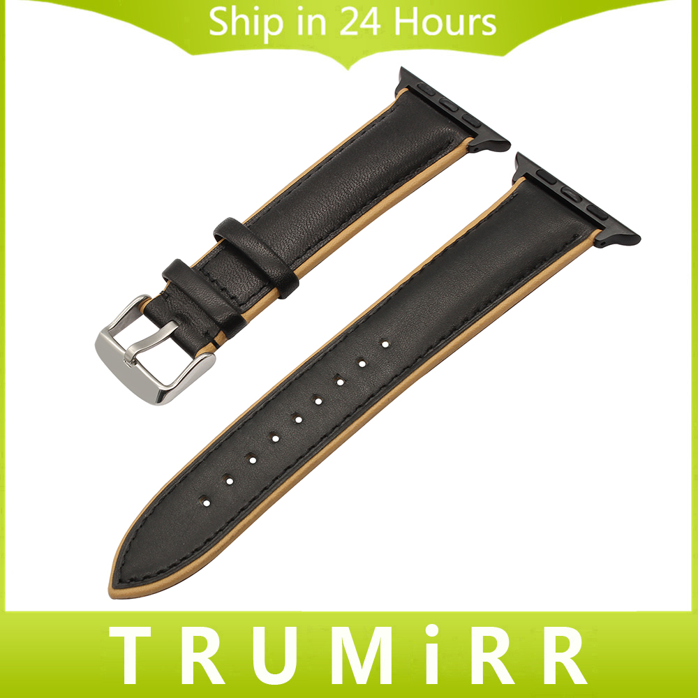 France Genuine Calf Leather Watchband for iWatch Apple Watch 38mm 42mm Double Color Band Steel Buckle Strap Wrist Bracelet Black 6 colors luxury genuine leather watchband for apple watch sport iwatch 38mm 42mm watch wrist strap bracelect replacement