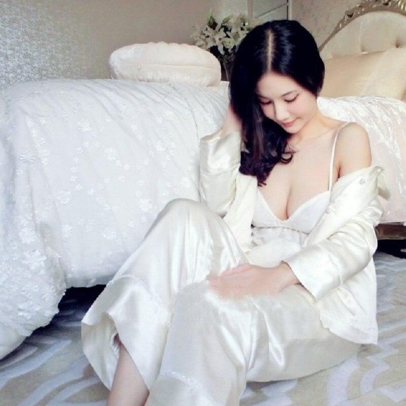 Nuevos pijamas gruesos de seda de calidad superior para mujer conjuntos de pijamas de manga larga de invierno blanco cálido de 3 fotos princesa conjuntos de ropa de dormir homwear 035 - 2
