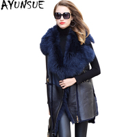 AYUNSUE 2019 Real Fur Coats Sleeveless Sheepskin Coat Female Genuine Leather Women's Vest Long Warm Winter Jacket Women WYQ1978