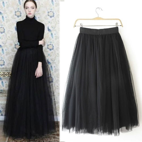 Onionshow NEW Spring fashion Princess Women's Multi layer Tulle maxi long skirt gray Black