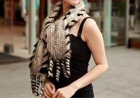 women winter Real mink Fur Scarf Good quality knitted wrap cape Neck Warmer Poncho Fur Shawl genuine mink fur scarf KFP602