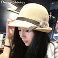 DreamShining New Ladys Hat Spring Fashion Hat After Alice Eaves Rabbit Fur Ball Hat Plain Weave Topper Imitation Wool Fedoras