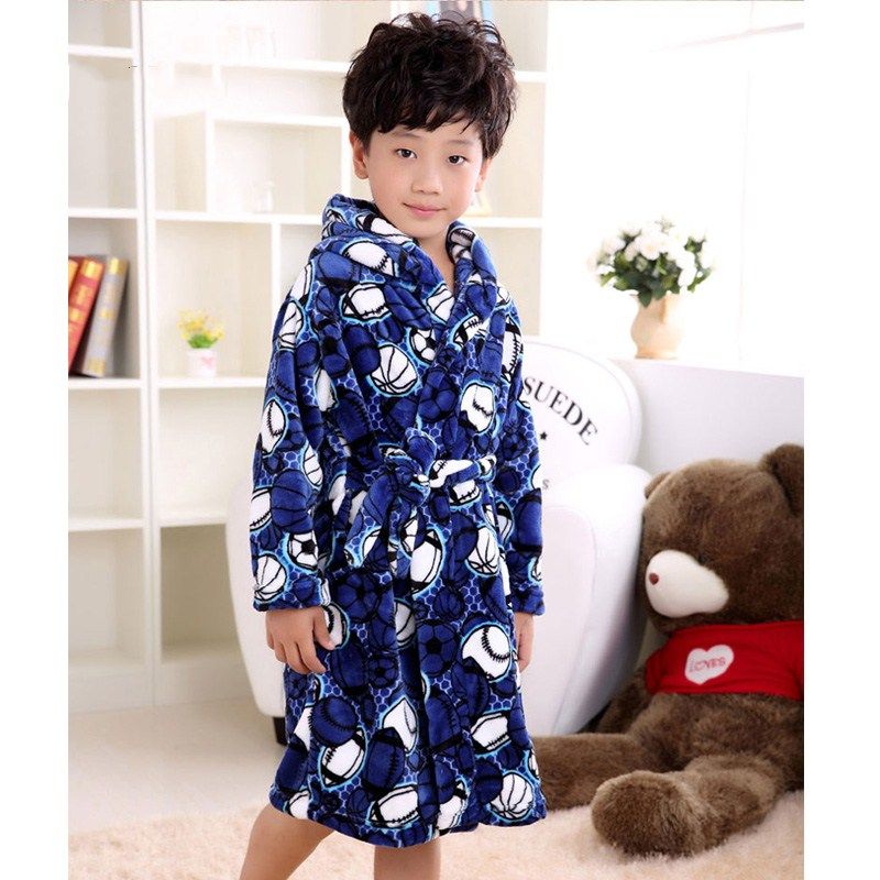 Brand Flannel Boys Cartoon Bear peignoir enfant Gown Hooded Robes Children's Bathrobe Kids Winter Gray Home Wear Soft Pajamas