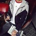 Mens Windbreaker Jacket 2016 Fashion Slim Fit Hooded Autumn Jackets Men Letter Print Man Coat Plus Size 5XL-M Mens Clothing