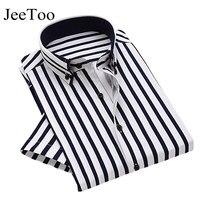 JeeToo Brand 2017 Summer Men Shirts Short Sleeve Mens Dress Shirts Cotton Striped Mens Casual Shirt