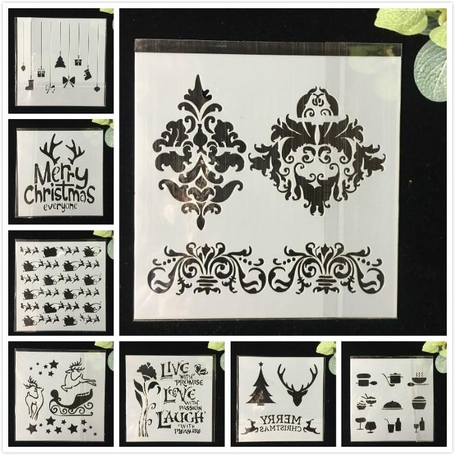 8Pcs/Pack 13cm Christmas Deer Bud DIY  Layering Stencils Wall Painting Scrapbook Coloring Embossing Album Decorative Template
