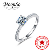 Moonso 100 925 Sterling Silver Engage Ment O Finger Anel Aneis De Diamante RealCZ Zircon The