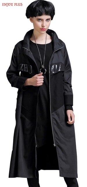 DESFRUTAR de MAIS 5% OFF chest116cm inverno outono 2016 maxi vestido longo mulheres trench coat plus size oversize preto algodão casual senhora XXL 3XL