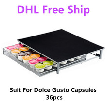 Metal Coffee Pod Holder Iron Chrome Storage Drawer Capsules Organizer for 36pcs Dolce Gusto