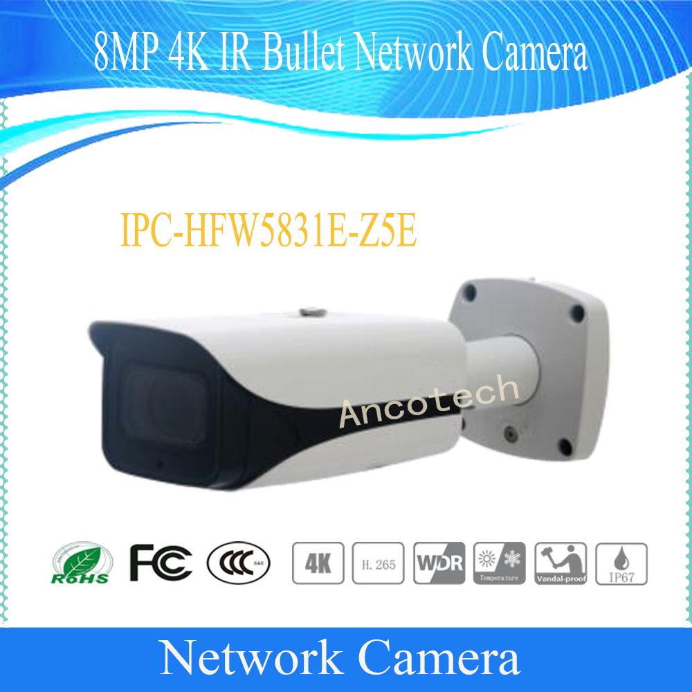 Free Shipping DAHUA IP Camera CCTV 8MP IR Bullet Network Camera with POE IP67 IK10 Without Logo IPC-HFW5831E-Z5E bullet camera tube camera headset holder with varied size in diameter