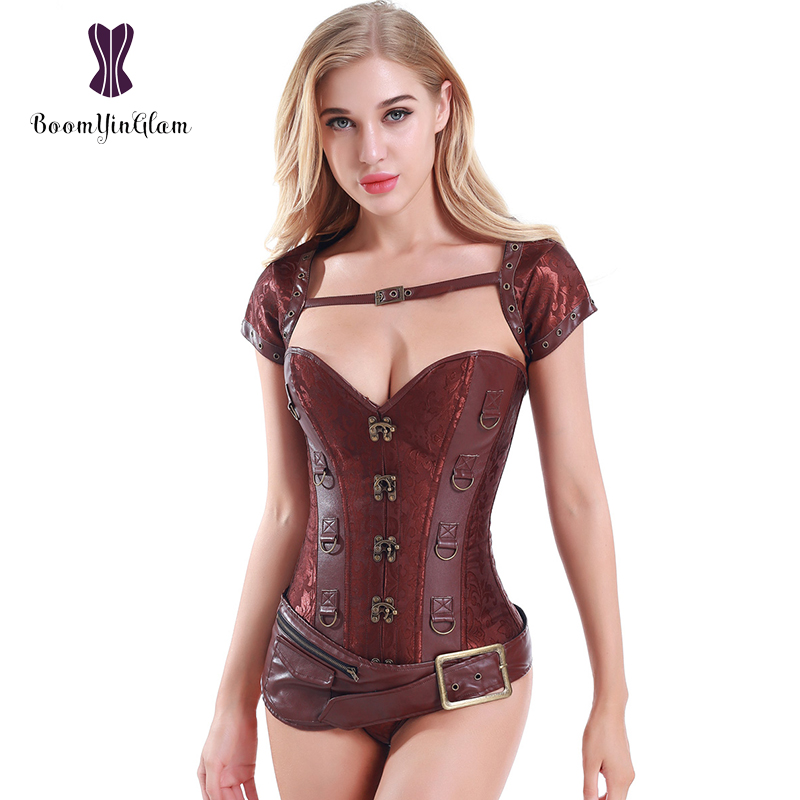 Metal Clasps Brown Faux Leather   Corsets   Women's Spiral Steel Boned Goth Retro Overbust Steampunk   Bustier     Corset   With Jacket 939#