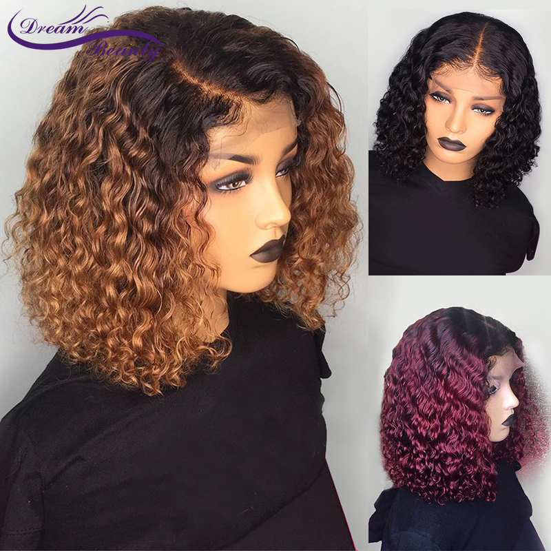 1B 99J Ombre Burgundy Short Human Hair Wigs Pre Plucked Curly Blonde Lace Front Bob Wig