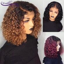 Ucuz Ombre bordo kısa insan saçı peruk PrePlucked kıvırcık sarışın dantel ön Bob peruk 13X4 brezilyalı Remy peruk rüya güzellik