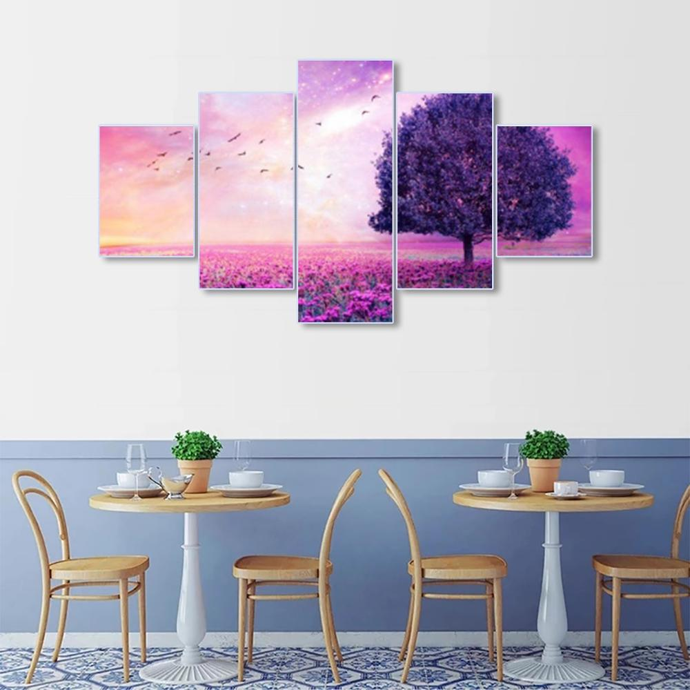 Laeacco Canvas Painting Calligraphy 5 Panel Garden Posters and Prints Wall Artwork Home Living Room Decoration