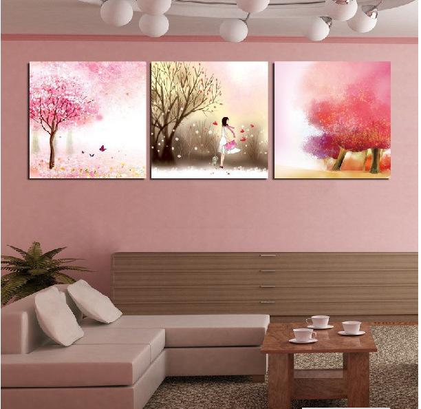 Modern The girl\'s pink dream painting Charm three pictures canvas ...