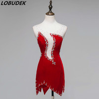 Red Female Latin Dance Costume Dance Group Performance Stage Wear Dancer Match Dance Clothing Sparkly Crystals Slim Short Dress