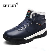 Plus Size 11 12 Mens Snow Boots Plush Warm Hiking Shoe Man Outdoor Trekking Ankle Boots