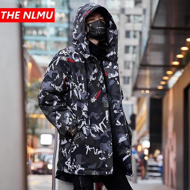 Hip Hop Colourful   Parkas   Men 2019 Winter Hooded Jackets Designer Medium Long Warm Jacket Harajuku Fashion Casual Streetwear W378