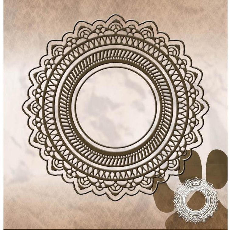 Ufurty Metal Cutting Dies Pierced Lace Circle Stitched Scrapbooking Die For DIY Embossing Paper Card Making