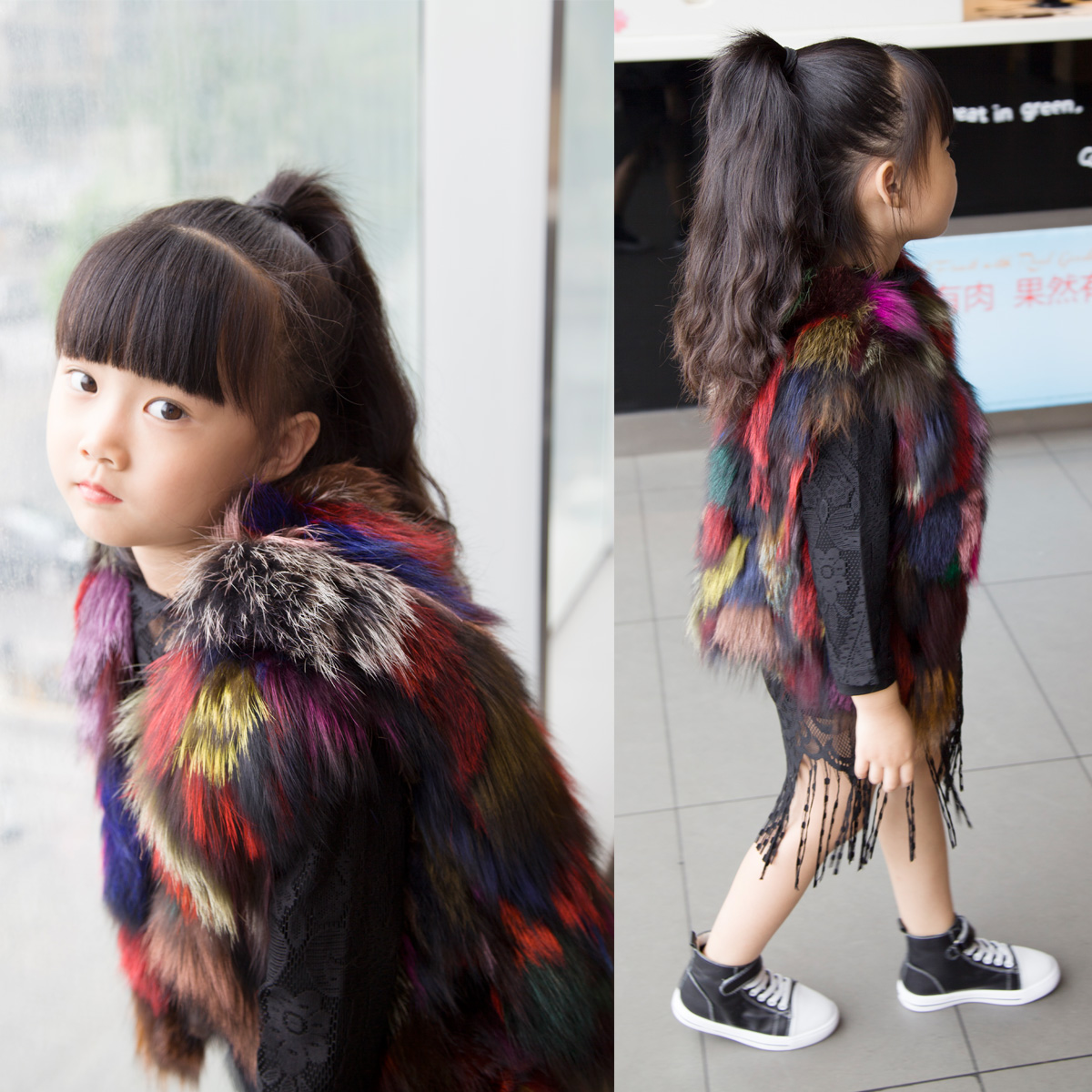 Bello Nuovo Lusso Della Pelliccia Di Fox Bambini Davvero Di Colore Di Modo Della Maglia Delle Ragazze Pantaloncini Gilet Trapuntato