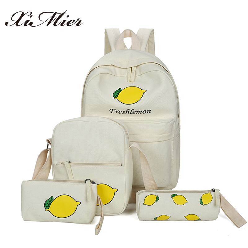 2017 summer canvas women backpack lemon printing 4pcs/set school bags for teenage girls frash backpacks set XIMIER big rucksack 40112302 dial test indicator precision metric with dovetail rails