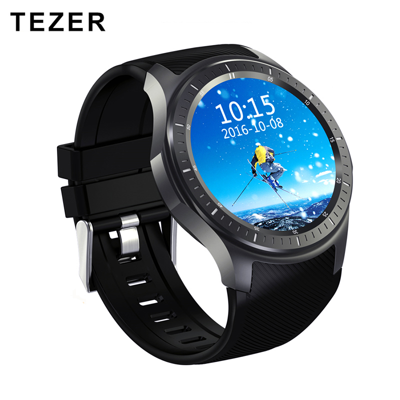 TEZER new Dial Call quad core 512MB+8GB RAM Heart Rate Monitor smart Watch Android 5.1 3G/WiFi/GPS SIM Card Anti lost DM368