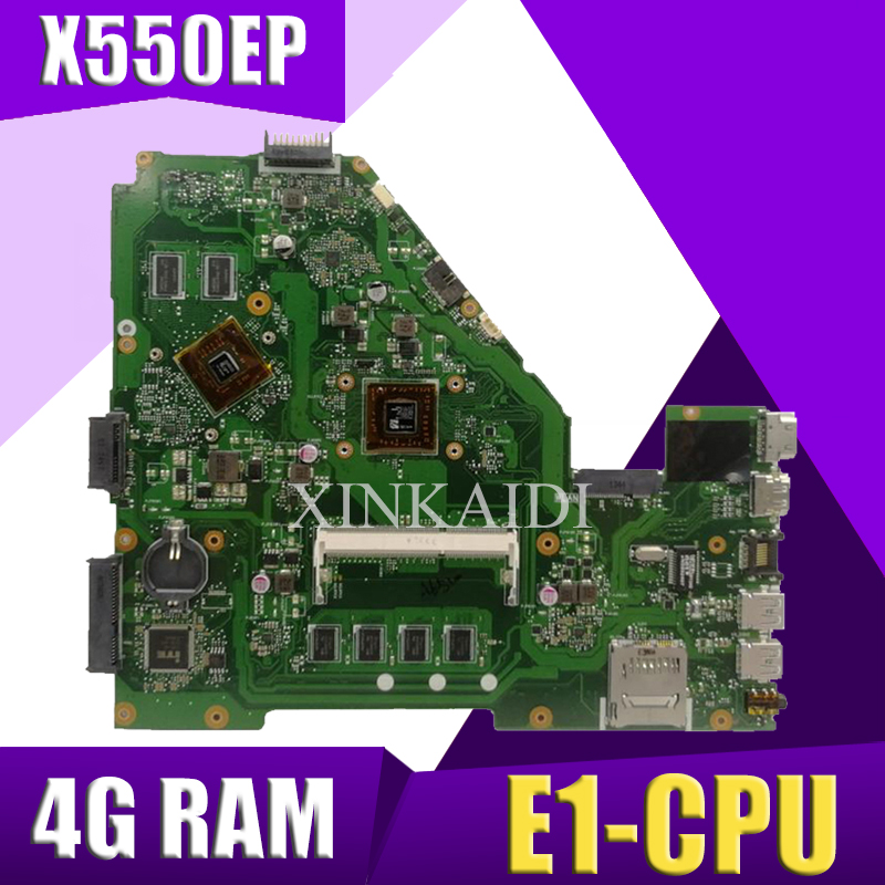 XinKaidi X550EP Laptop motherboard for ASUS X550EP X550E X552E Test original mainboard 4G <font><b>RAM</b></font> E1-CPU image