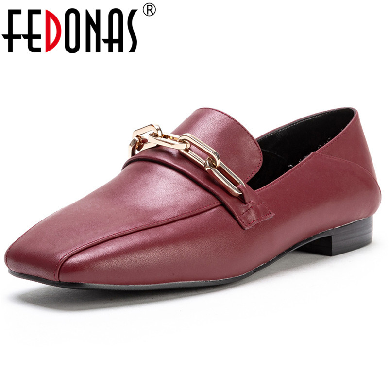 FEDONAS Euro Style Women Sqaure Toe High Heels Pumps Genuine Leather Classic Chains Party Club Dancing