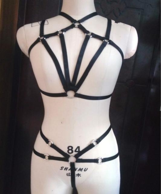 Nueva moda pastel goth mujeres anillo O correa elástica busto arnés traje vestido conjunto liguero lencería sexy busto femenino venta al por menor