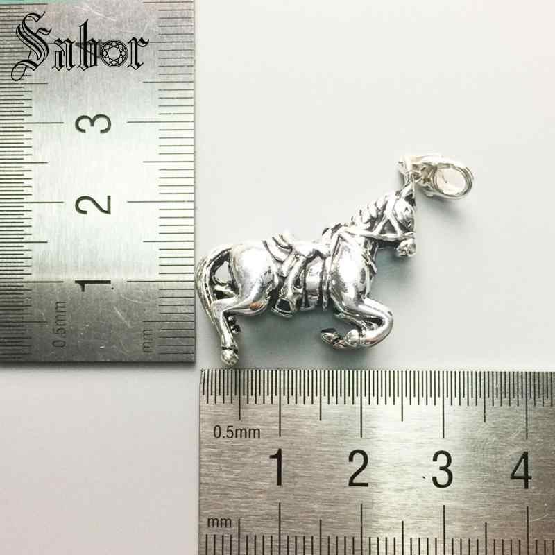 สร้อยคอ War Horse ของขวัญสำหรับสตรีและผู้ชายหญิงหัวใจ Rebel 925 เงินสเตอร์ลิงแฟชั่นเครื่องประดับขายส่ง thomas