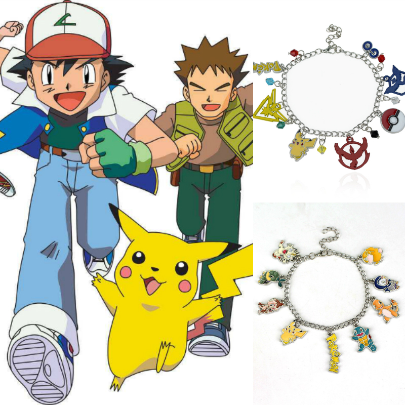 Hot Game Anime New fashion pokemon go team bracelet Pikachu pendant silver plated metal alloy jewelry bracelets Drop shipping