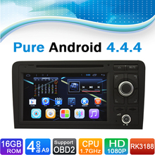 (Quad Core, 16GB iNand Flash) Pure Android 4.4.4 Car GPS Navigation DVD Player for Audi A3(2003-2012)