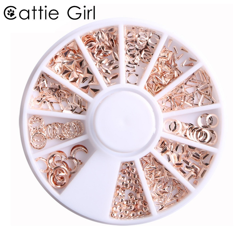 1 Box Metal Matte Rose Gold Nail Accessories Round Geometric Wheel Studs  Gold 3D Nail Art Decorations for Nail Gel Cattie Girl -in Rhinestones    Decorations ... f747fbb02eb7