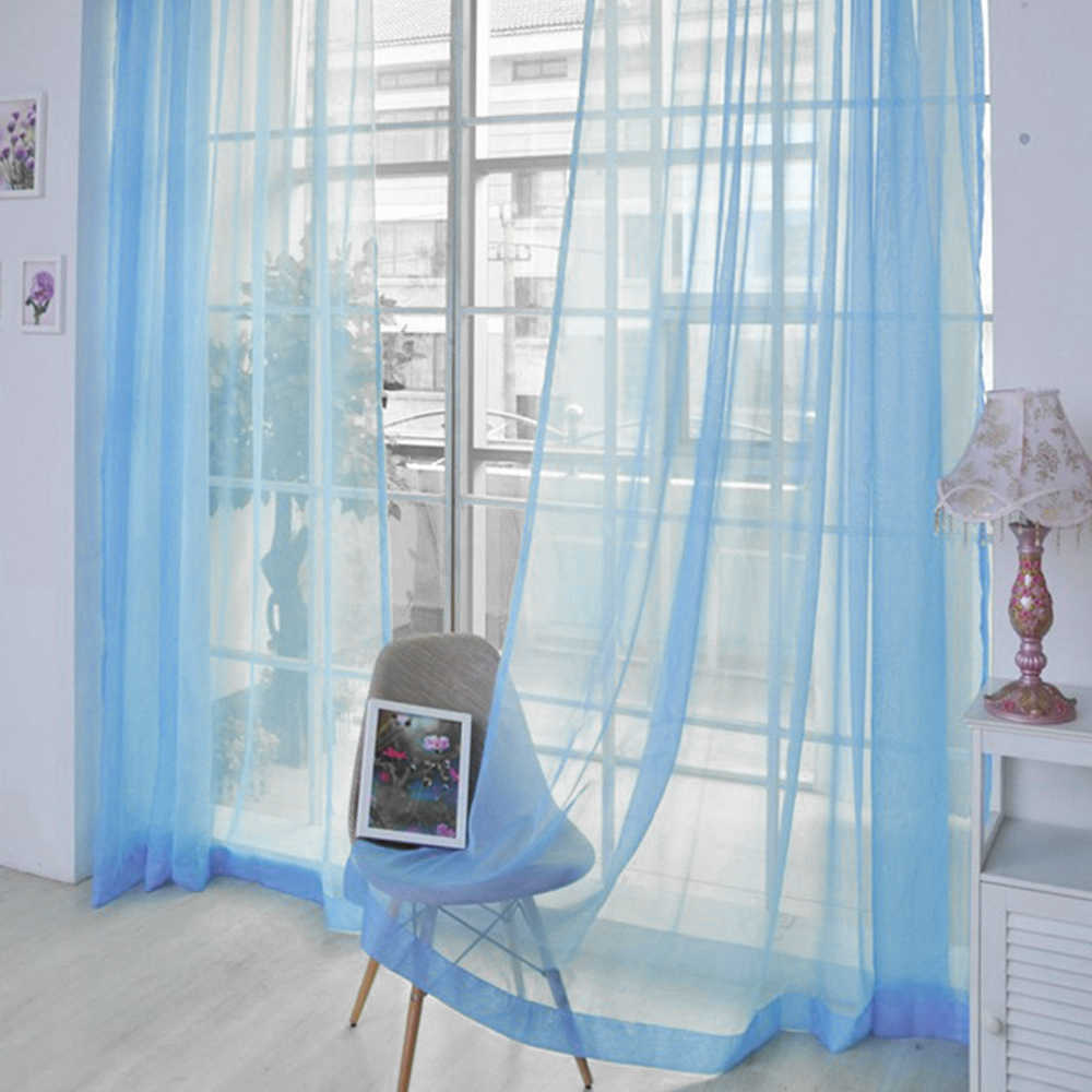 Floral Door Window Curtain Drape Panel Sheer Scarf Valances Modern Bedroom Living Room Curtains European American Style 7