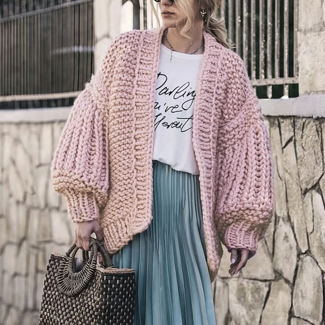 d166d7838037 Yojoceli 2018 autumn winter handmade knitted sweater cardigan women ...