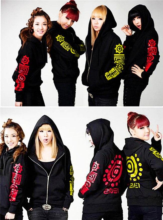 2017 Parc De Mode kpop kpop 2ne1 cl boom même zipper sweat à capuche impression veste à capuche pour femmes sweat fans de soutien