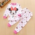 2016 Crianças conjuntos de roupas de bebê meninas Bonito Minnie crianças conjuntos de roupas de inverno 100% de algodão pijama do bebê do miúdo das meninas roupas conjunto