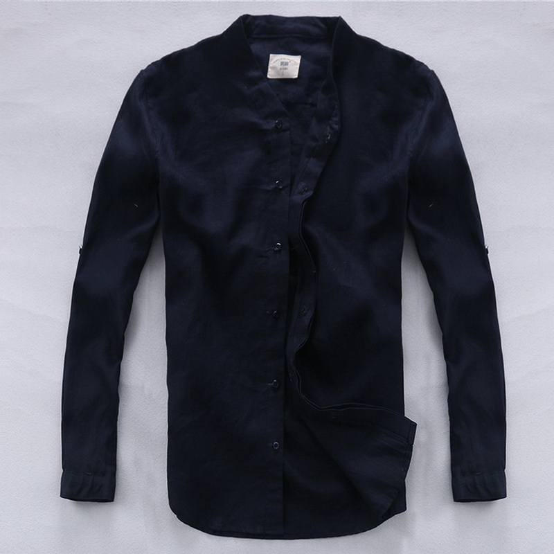 Italy Brand Suhaiwe's Navy-blue Men Shirt Linen 100% Flax Summer Double Layer Placket Casual Shirt Men Camisa Masculina Homme