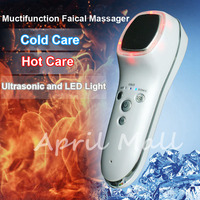 Ultrasonic Cryotherapy Hot Cold Hammer Face Lifting LED Light Photon Facial Massager Skin Care Ultrasound Spa