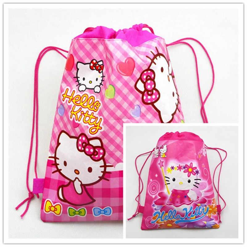 0aafa1a712 Detail Feedback Questions about 1pcs Hello Kitty Fashion Portable  Drawstring Bag Shoes Bag Women Cotton Travel Pouch Storage Clothes Handbag  Girl Makeup bag ...