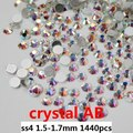 Cristal de la marca de los Rhinestones hace Of AAA Material de cabujón 1440 unids ss4 1.5 - 1.7 mm Crystal AB de la joyería Rhinestone Diy Nail Art de piedra